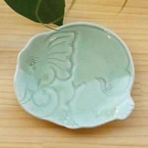 【セラドン焼き】ゾウのお皿
